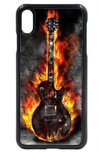 Flaming Electric Blues Rock Metal Guitar Design Hard Case Cover Fits Apple iPhone